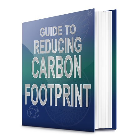emission: Illustration depicting a text book with a carbon footprint concept title. White background.