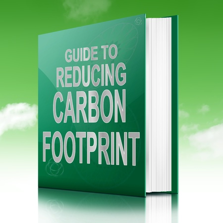 reduction: Illustration depicting a book with a carbon footprint concept title. Sky background. Stock Photo