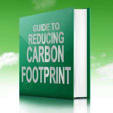 dioxido de carbono: Ilustración que muestra un libro con un título concepto huella de carbono. Fondo del cielo.