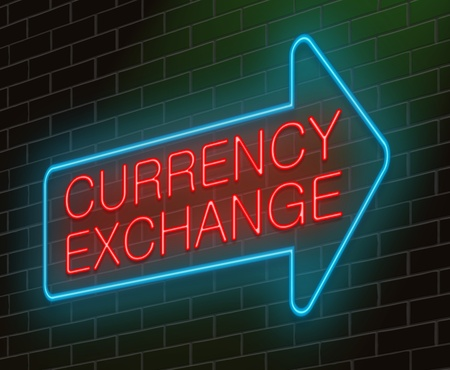 conversion: Illustration depicting an illuminated neon sign with a currency exchange concept.