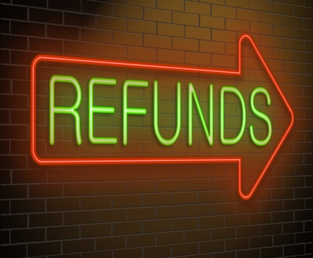 returned: Illustration depicting an illuminated neon sign with a refund concept.