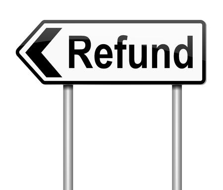 remuneraci�n: Ilustraci�n que muestra un letrero con un concepto de reembolsos. Foto de archivo