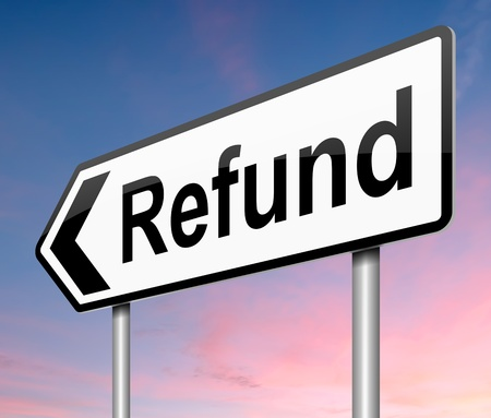 reimbursement: Illustration depicting a sign with a refunds concept.