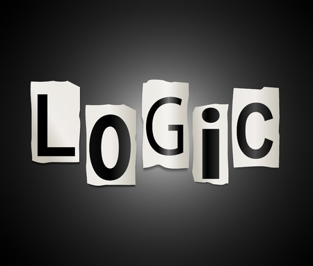 reasoning: Illustration depicting a set of cut out printed letters formed to arrange the word logic.