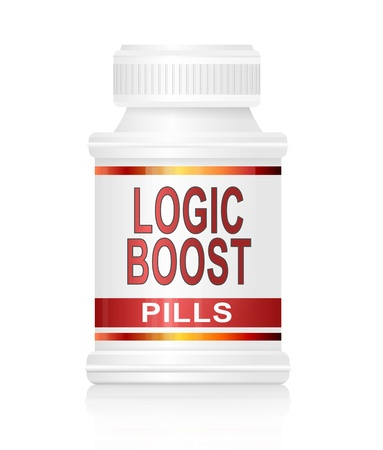 rationale: Illustration depicting a medication container with a logic boost concept.