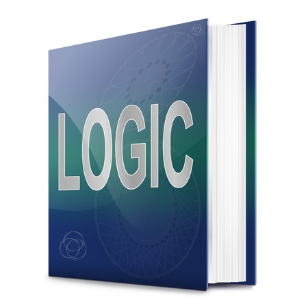 logic: Illustration depicting a text book with a logic concept title. White background.