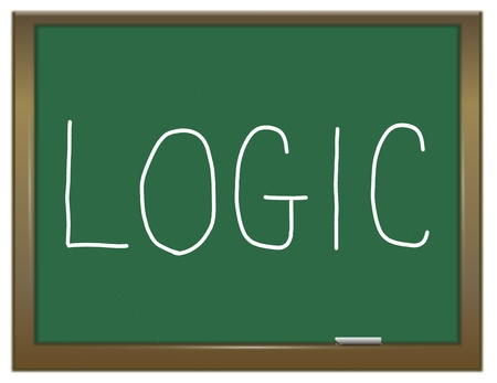 rationale: Illustration depicting a green chalkboard with a logic concept. Stock Photo