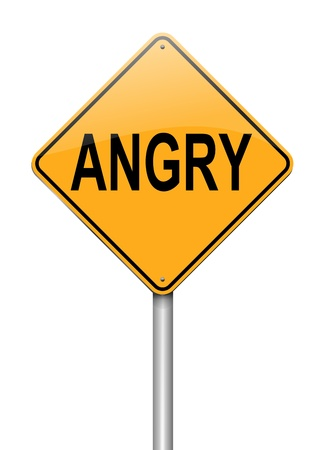 temper: Illustration depicting a sign with an angry concept.
