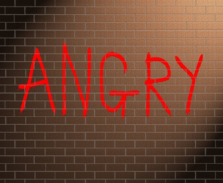 enraged: Illustration depicting graffiti on a brick wall with an anger concept.