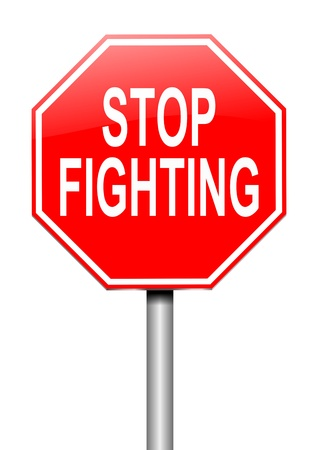 encounter: Illustration depicting a sign with a stop fighting concept.