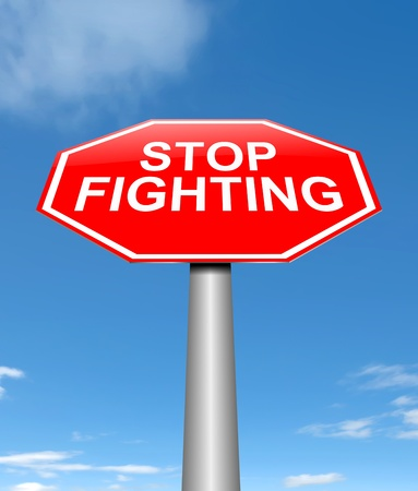 Illustration depicting a sign with a stop fighting concept. Stock Illustration - 21616511