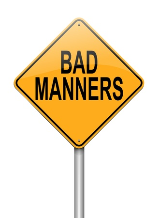 Illustration depicting a sign with a bad manners concept. Stock Photo