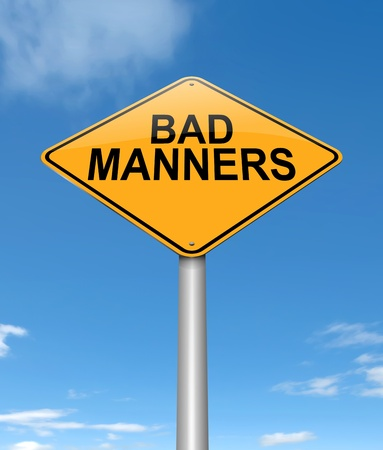 bad manners: Illustration depicting a sign with a bad manners concept. Stock Photo