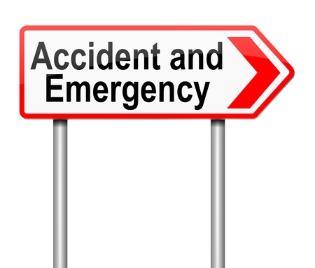 Illustration depicting a sign directing to Accident and Emergency. illustration