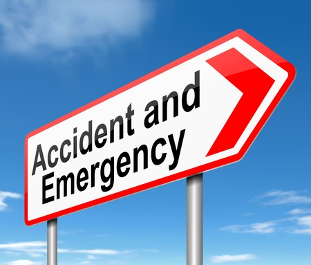 threaten: Illustration depicting a sign directing to Accident and Emergency.