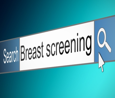 Illustration depicting a screen shot of an internet search bar containing a Breast Screening concept.  Stock Illustration - 21617105