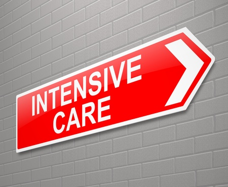 intensive: Illustration depicting a sign with an Intensive Care concept.