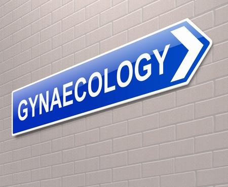 Illustration depicting a sign directing to Gynaecology. illustration