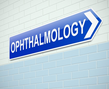 hospital sign: Illustration depicting a sign directing to Opthalmology .
