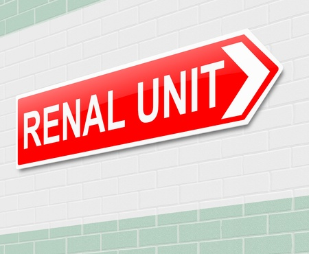 directing: Illustration depicting a sign directing to Renal Unit. Stock Photo