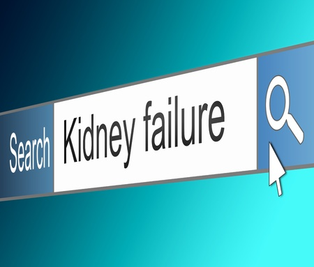 dialysis: Illustration depicting a screen shot of an internet search bar containing a Kidney failure concept.