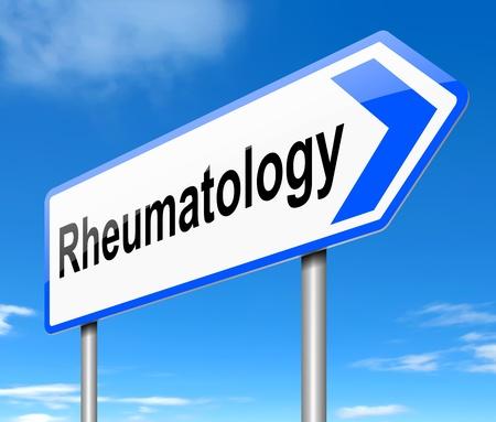 rheumatology: Illustration depicting a sign directing to Rheumatology.