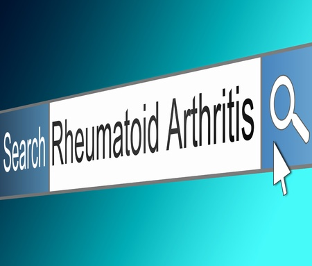 Illustration depicting a screen shot of an internet search bar containing a Rheumatoid Arthritis concept. Stock Illustration - 21617622