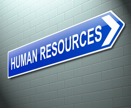 Illustration depicting a sign directing to Human Resources. illustration