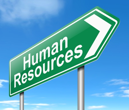 employer: Illustration depicting a sign directing to Human Resources.