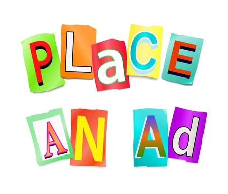 arrange: Illustration depicting a set of cut out letters formed to arrange the words place an ad. Stock Photo