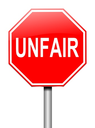 bigoted: Illustration depicting a sign with an unfair concept. Stock Photo