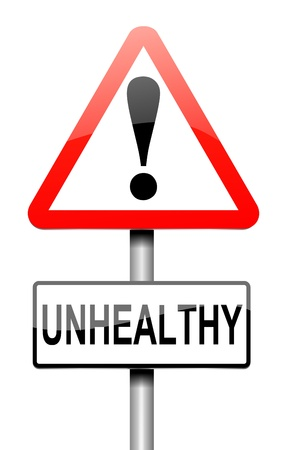 poorly: Illustration depicting a sign with an unhealthy concept. Stock Photo