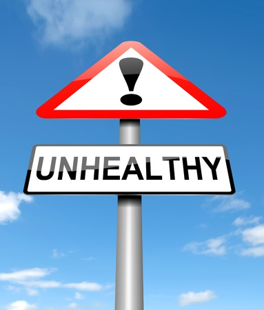 infirm: Illustration depicting a sign with an unhealthy concept. Stock Photo