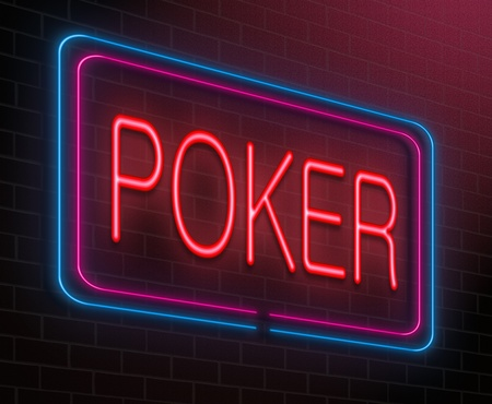 hold'em: Illustration depicting an illuminated neon sign with a poker concept.
