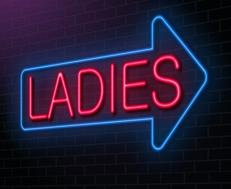 public restroom: Illustration depicting an illuminated neon sign with a ladies concept.