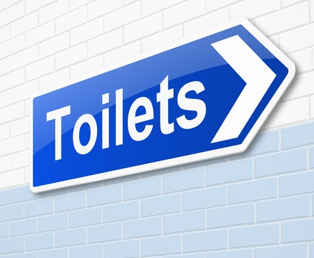 mens: Illustration depicting a sign directing to toilets.
