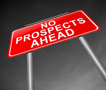 bleak: Illustration depicting a sign with a no prospects ahead concept. Stock Photo