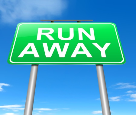 coward: Illustration depicting a sign with a run away concept.