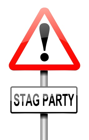 impending: Illustration depicting a sign with a stag party concept.