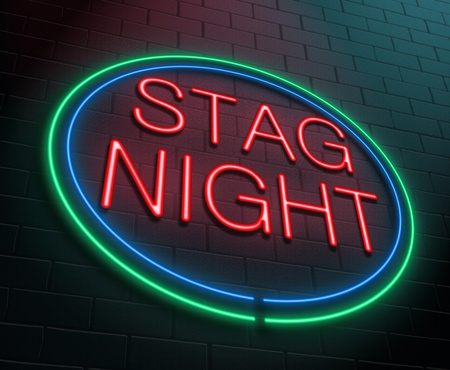 stag party: Illustration depicting an illuminated neon sign with a stag party concept.