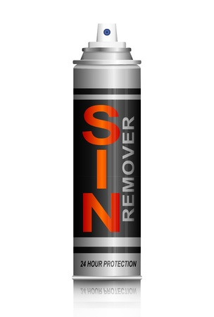 Illustration depicting an aerosol spray can with a sin remover concept.