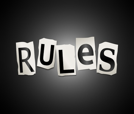 regulating: Illustration depicting a set of cut out letters formed to arrange the word rules. Stock Photo