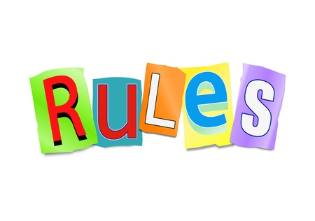 regulation: Illustration depicting a set of cut out letters formed to arrange the word rules. Stock Photo