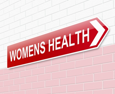 Illustration depicting a sign directing to womens health. illustration