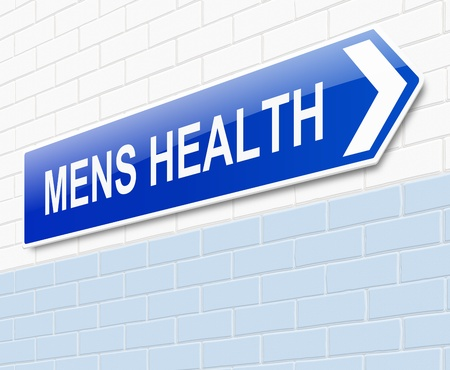 Illustration depicting a sign directing to Mens health. Archivio Fotografico