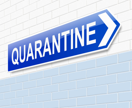 quarantine: Illustration depicting a sign directing to quarantine.