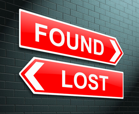opposites: Illustration depicting a sign with a lost and found concept. Stock Photo