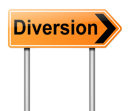 diversion: Illustration depicting a diversion sign. Stock Photo