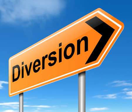 diverted: Illustration depicting a diversion sign. Stock Photo
