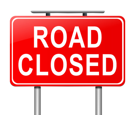 closure: Illustration depicting a road closed sign with white background.